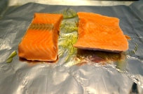Frozen salmon ready to be glazed